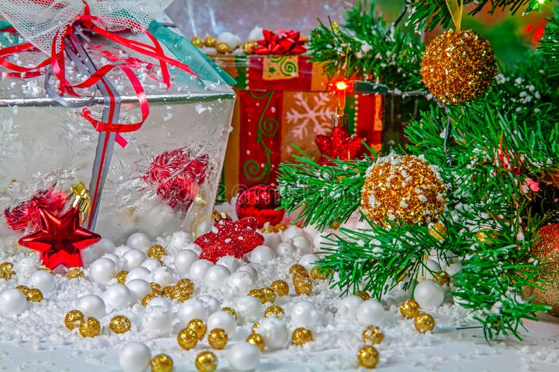 Beautifully decorated table with holiday gifts royalty free stock photo