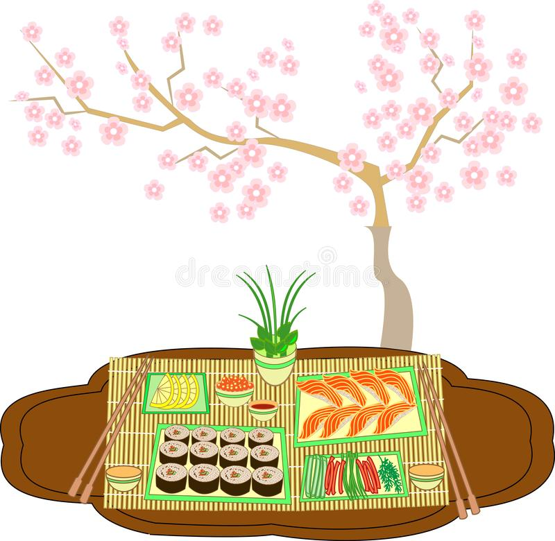 Beautifully decorated table with sushi and rolls. Traditions of Japanese cuisine. A delicate background creates a cherry branch. royalty free illustration