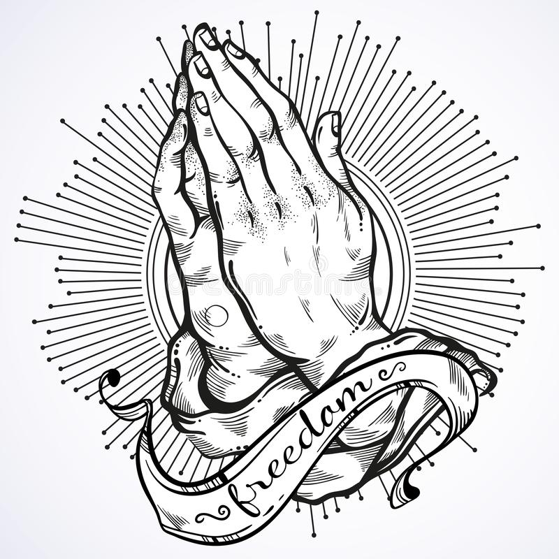 Free Beautifully Detailed Human Hands Folded In Prayer. Appeal To The God. Faith And Hope. Religious Motifs. Academic Art. Vector Art. Stock Image - 130519411