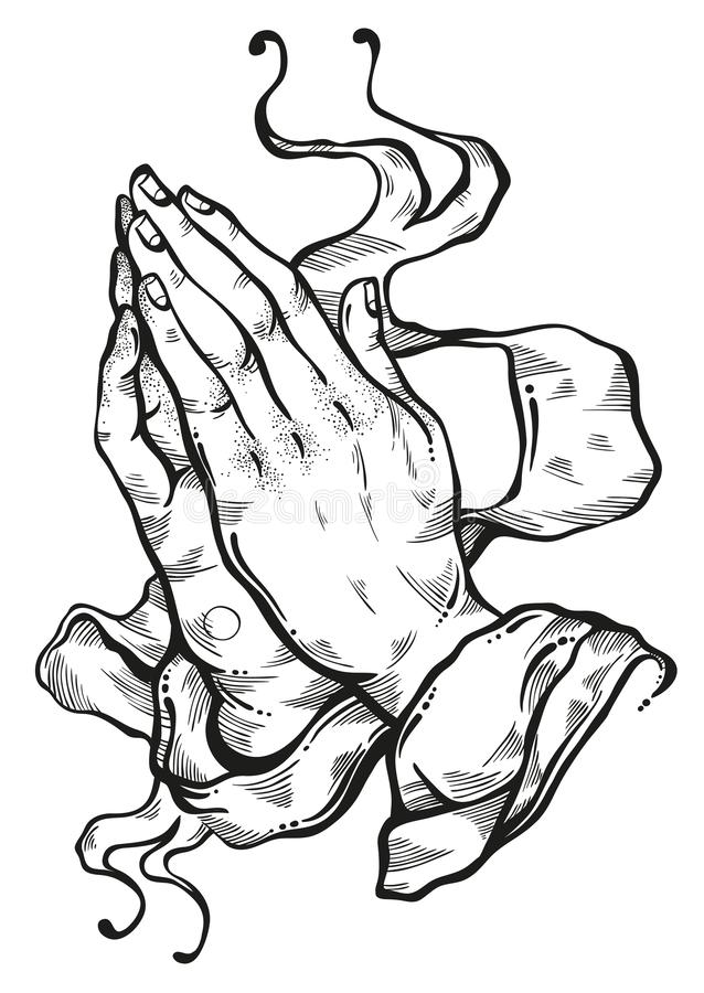 Beautifully detailed human hands folded in prayer. Appeal to the God. Faith and hope. Religious motifs. Academic art. Vector art. vector illustration