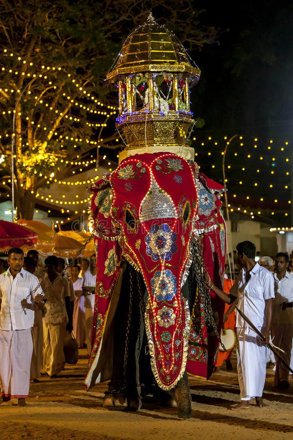 A beautifully dressed ceremonial elephant parades through the Kataragama Festival in Sri Lanka. The Kataragama Festival is a predominantly Hindu festival held royalty free stock images