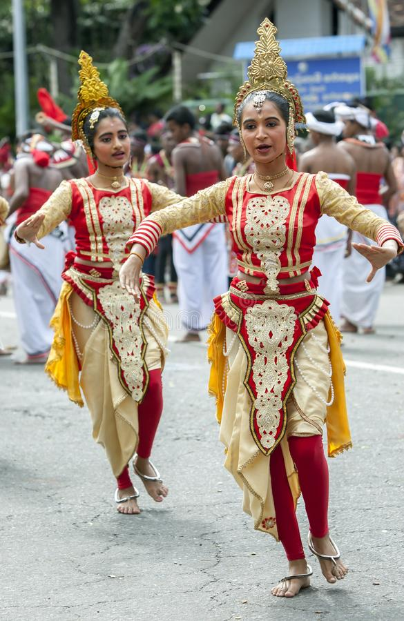 Beautifully dressed female dancers at Kandy in Sri Lanka. royalty free stock images