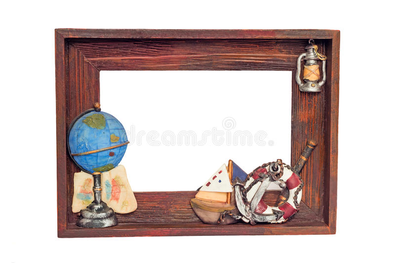 Beautifully issued wooden frame for a photo on a white background. stock photo