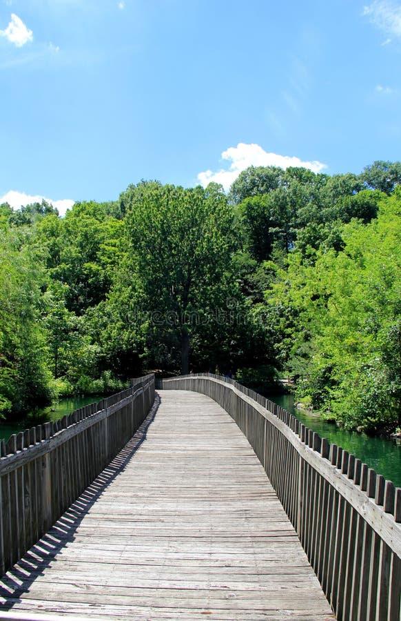 Beautifully konstruerad wood bro över vatten arkivbild