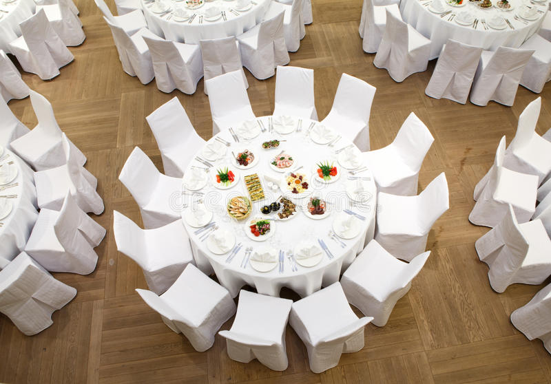 Beautifully organized event - served banquet tables royalty free stock images