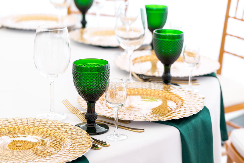 Beautifully organized event - served festive round tables ready for guests stock photo
