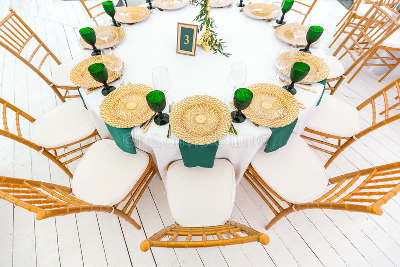 Beautifully organized event - served festive round tables ready for guests royalty free stock photos