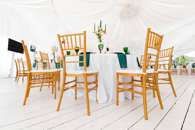 Beautifully organized event - served festive round tables ready for guests royalty free stock images