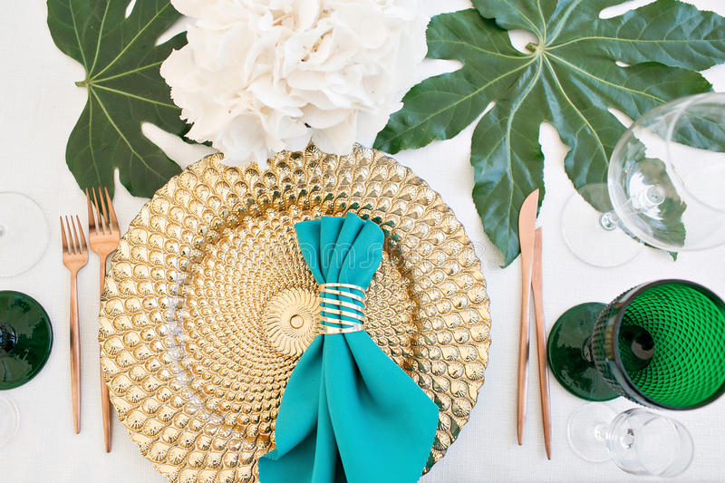 Beautifully organized event - served festive tables ready for guests royalty free stock photo