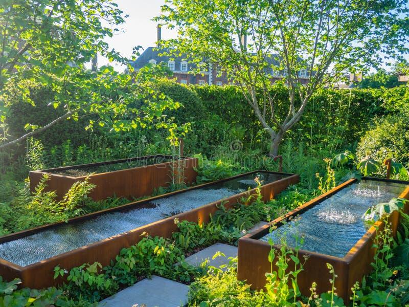 Beautifully planlagda trädgårdar med växter och nyanserade blommasammansättningar på RHS Chelsea Flower Show arkivbilder