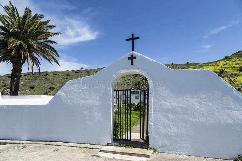 Cemetery in the mountains of La Gomera. Beautifully restored walled old Christian cemetery in the mountains of La Gomera royalty free stock images