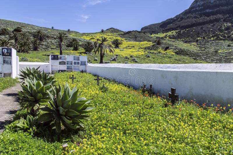 Cemetery in the mountains of La Gomera. Beautifully restored walled old Christian cemetery in the mountains of La Gomera stock photo