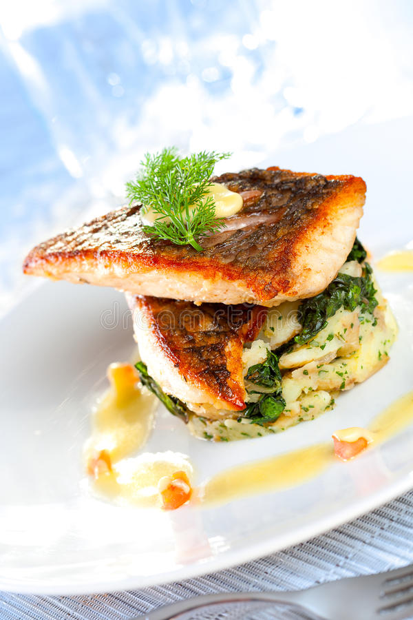 Salmon Dish. Beautifully styled mediterranean salmon dish on white plate in an expensive restaurant setting. Shallow depth of field royalty free stock photo