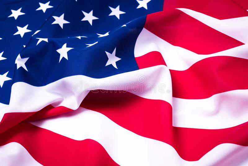 Beautifully waving star and striped American flag. royalty free stock photos
