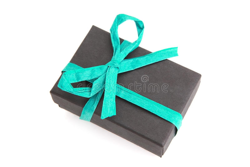 Beautifully wrapped black and blue gift box stock images
