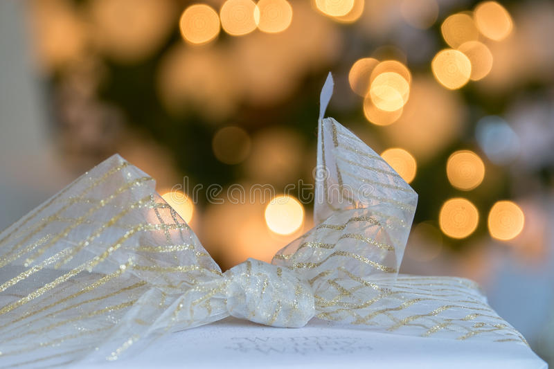 Beautifully wrapped Christmas Holiday presents with linen and go royalty free stock photography