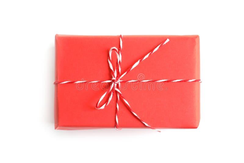 Beautifully wrapped gift box on white background royalty free stock photos
