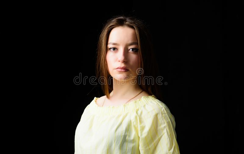 Beautifying face hair and skin. Cosmetology and beauty. Daily simple makeup. Portrait of attractive woman long hair royalty free stock photo