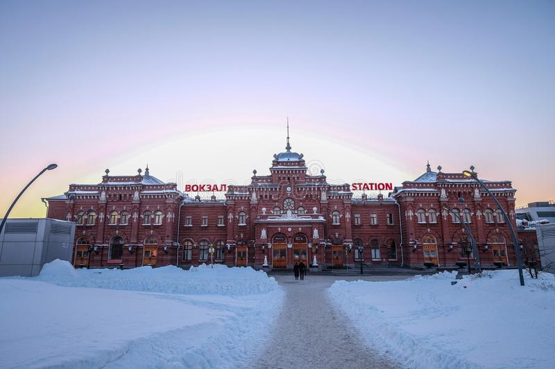 Beautirul view of Kazan Railway Station in Russia during winter. 2018. The temparature down until -25 celcius royalty free stock photo