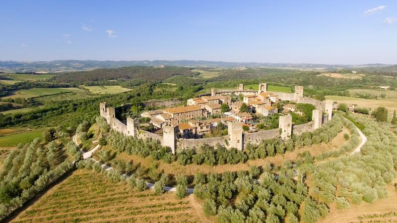 Beautiul aerial view of Monteriggioni, Tuscany medieval town on. The hill royalty free stock image