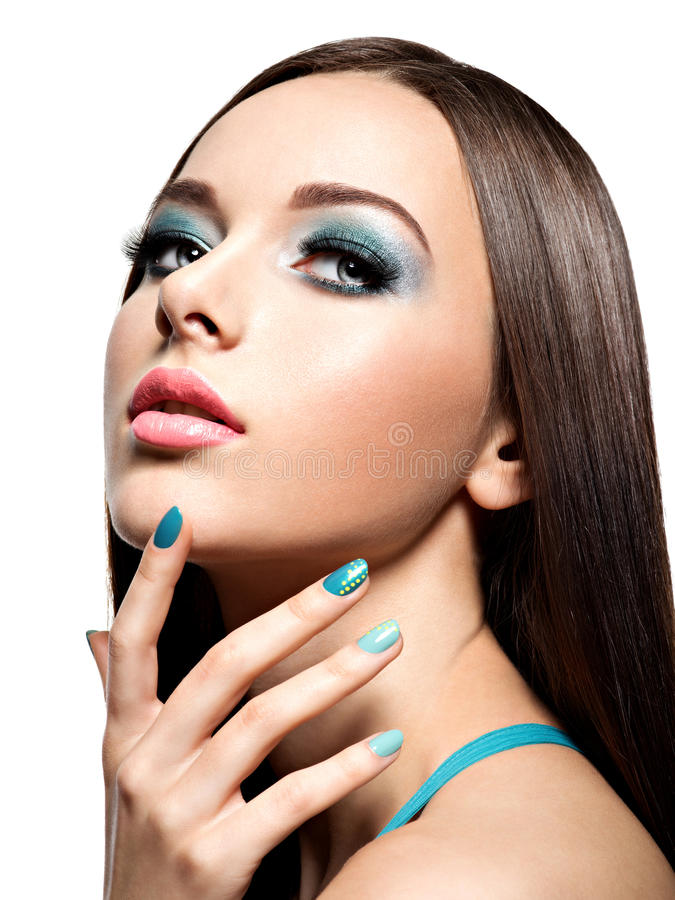 Beautiul Fashion Woman With Turquoise Make-up And Nails Stock Photo ...