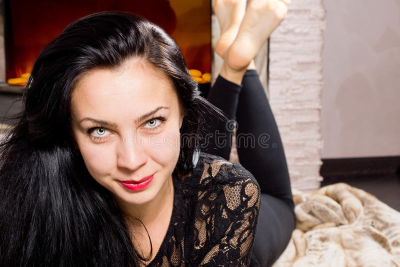 Beautiul woman with a seductive smile stock image