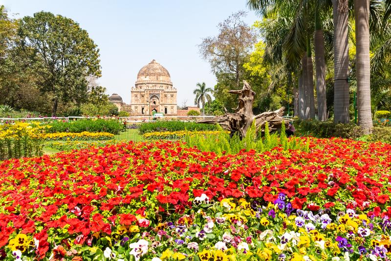Beautuful Lodhi Garden with flowers, greenhouse, tombs and other sights, New Delhi, India.  stock photography