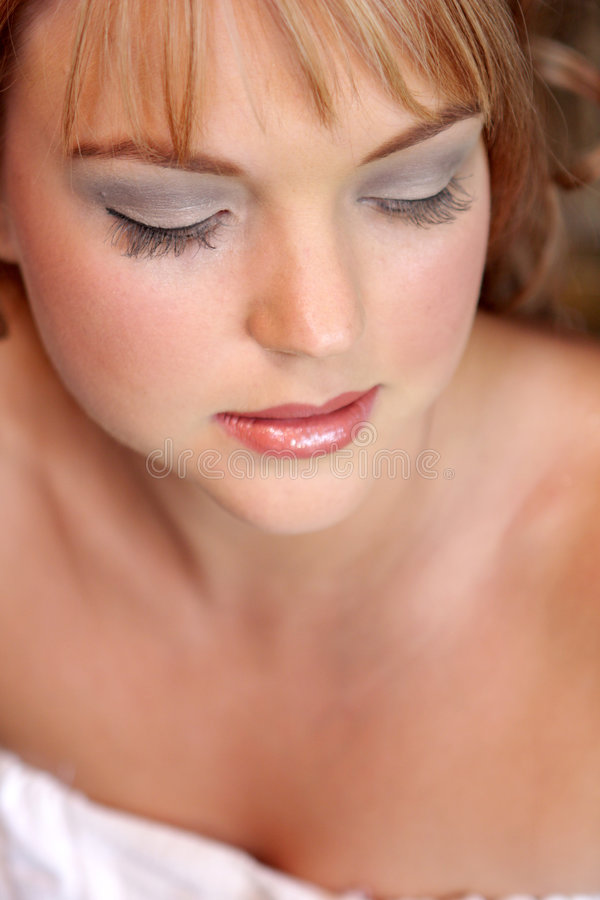 Beauty. A bride before her wedding ceremony stock image