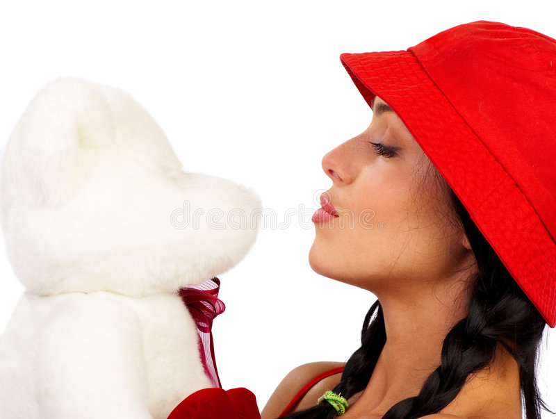 Beauty. Attractive beauty woman with lovely teddy bear. Beauty series