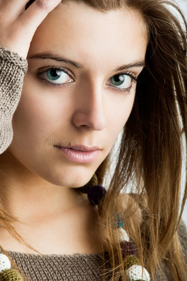 Beauty. Close-up portrait of a fresh and beautiful young fashion model royalty free stock images