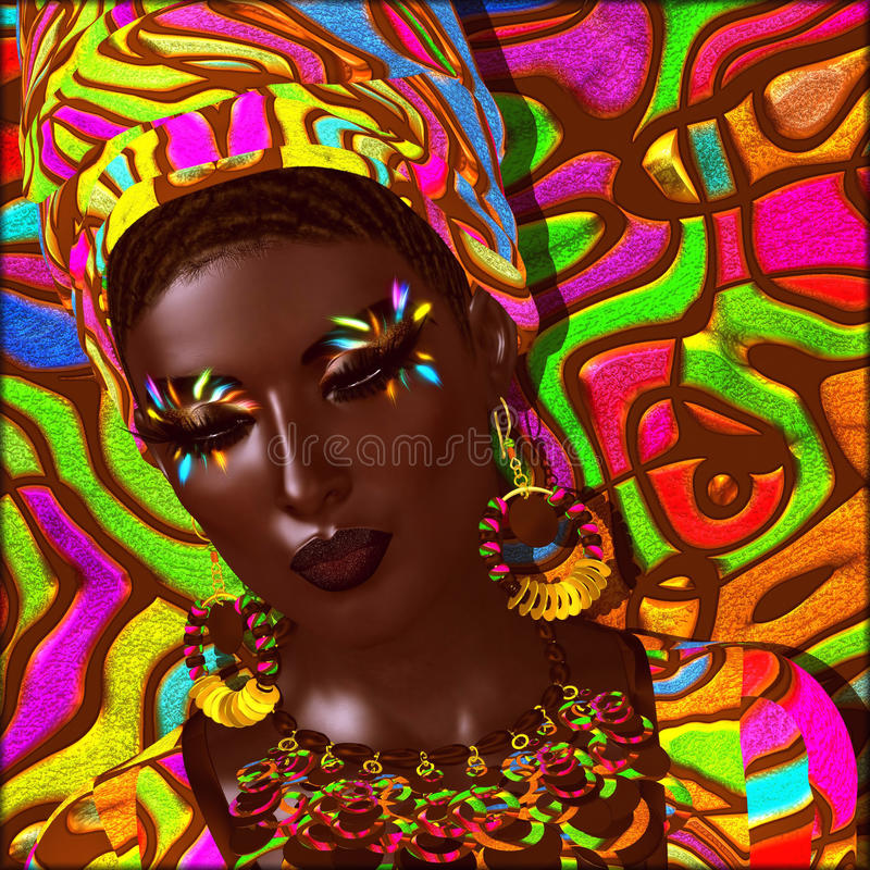 Beauty of Africa. Colorful digital art scene of a beautiful African woman, vector illustration