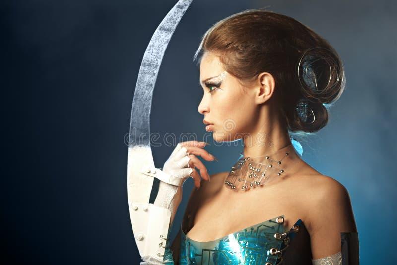 Beauty alien woman royalty free stock photography
