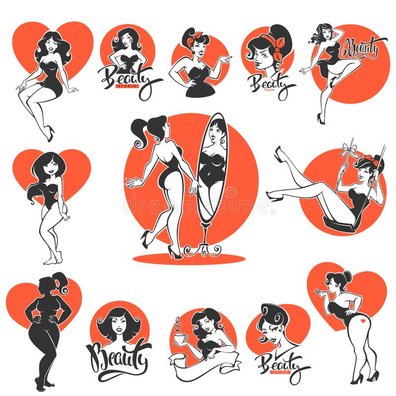 Free Beauty And Sexy, Large Collection Of Pinup Girls And Lettering C Royalty Free Stock Image - 121642576