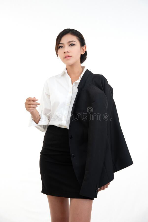 Beauty asain woman dress white shirt undress suit hand hold glasses isolate on white background stock photography