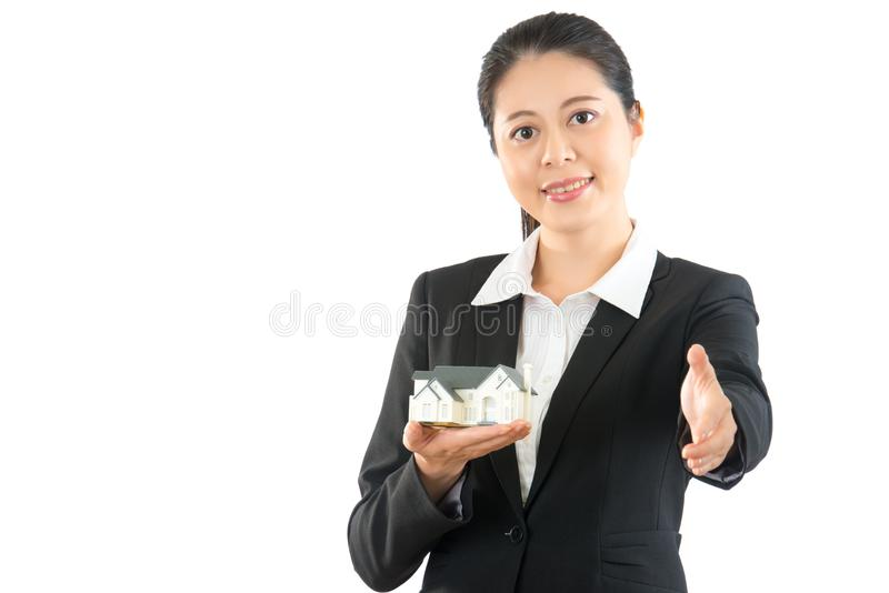 Beauty asian woman agent giving his hand stock photo
