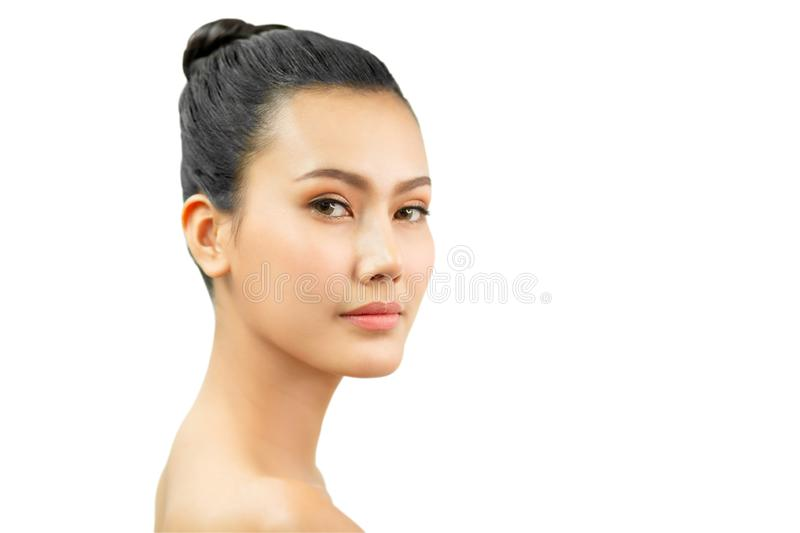 Beauty asian Woman face and Clean skin . close up beautiful girl smiling with makeup , cosmetic . portrait  female isolated on royalty free stock images