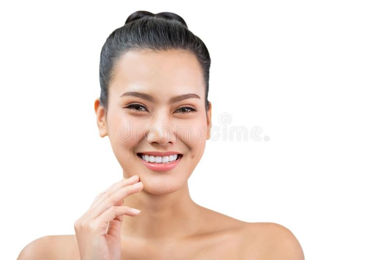 Beauty asian Woman face and Clean skin . close up beautiful girl smiling with makeup , cosmetic . portrait  female isolated on royalty free stock photos