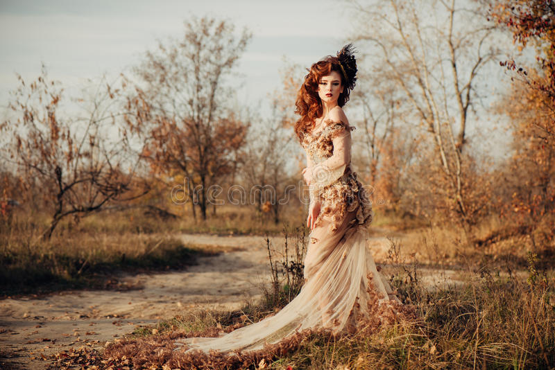 Beauty autumn woman in dress with leaves stock images
