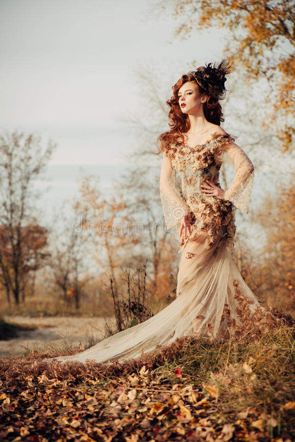 Beauty Autumn Woman In Dress With Leaves Stock Image