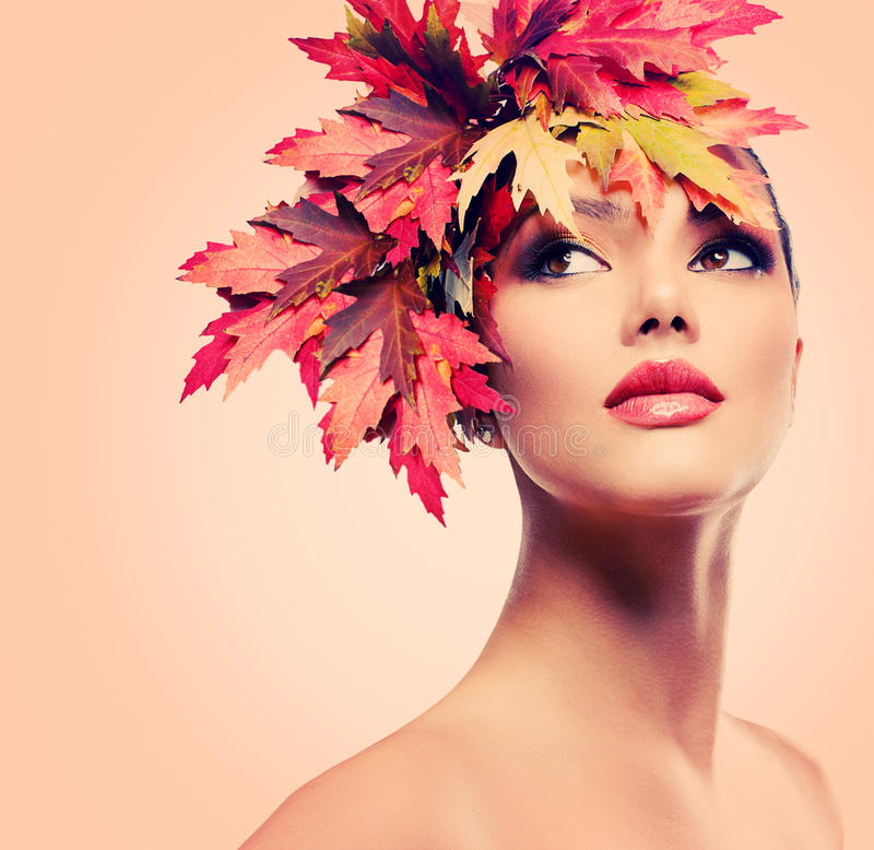 Beauty Autumn Woman. Autumn Woman Fashion Portrait. Beauty Autumn Girl royalty free stock photo