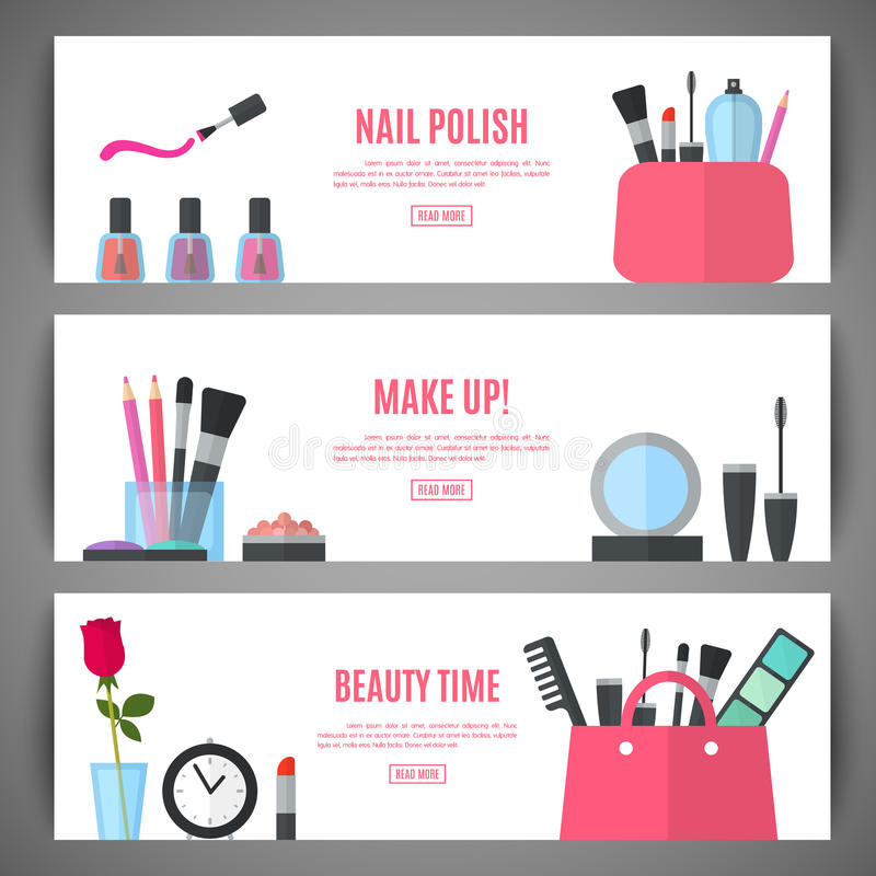 Beauty banner design. Cosmetic accessories for make-up. Set of beauty make up banner design. Cosmetic accessories for make-up. Cosmetology and SPA. Vector royalty free illustration
