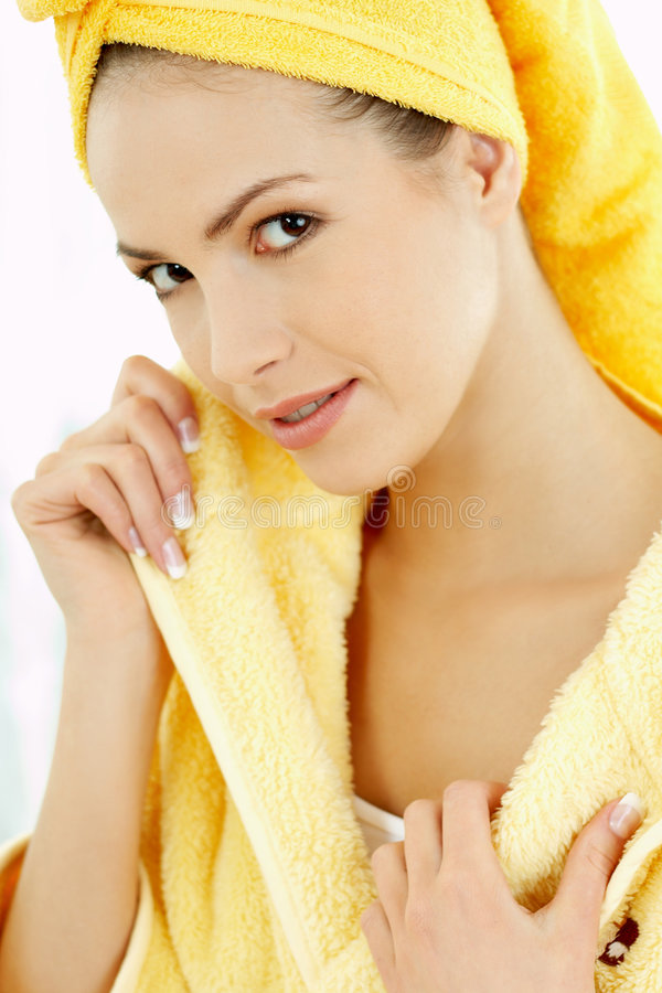 Beauty After Bath 2. Portrait of Fresh and Beautiful brunette woman wearing white towel on her head stock photography