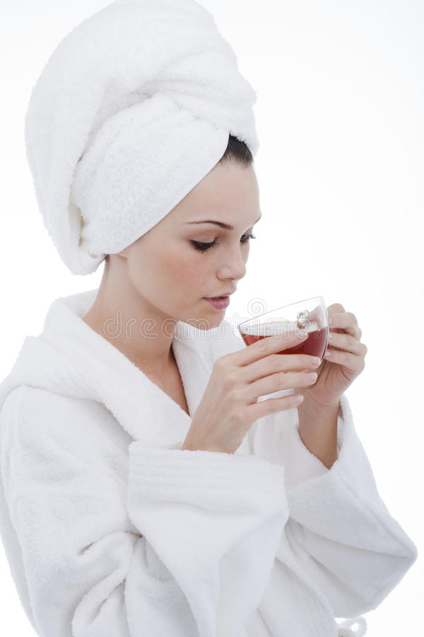 Beauty in bathrobe stock image