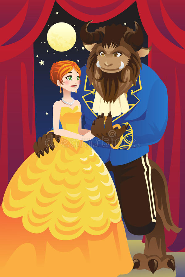 Beauty and the beast stock illustration