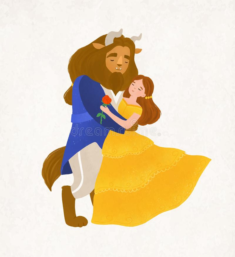 Beauty and Beast dancing waltz. Young woman and bewitched creature from magic tale. Adorable fairytale characters stock illustration
