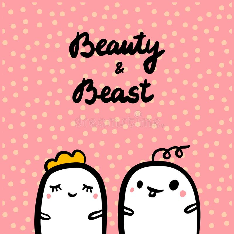 Beauty and beast hand drawn illustration with cute marshmallow in cartoon style royalty free illustration