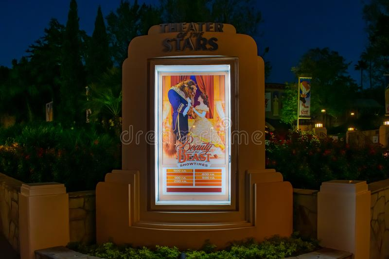 Beauty and the Beast Show times sign in Hollywood Studios at Walt Disney World. stock photos