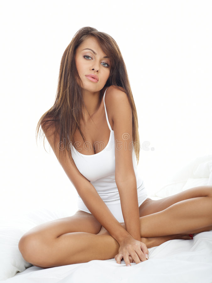 Download Beauty in Bed stock image. Image of attractive, face, brunette - 8174643