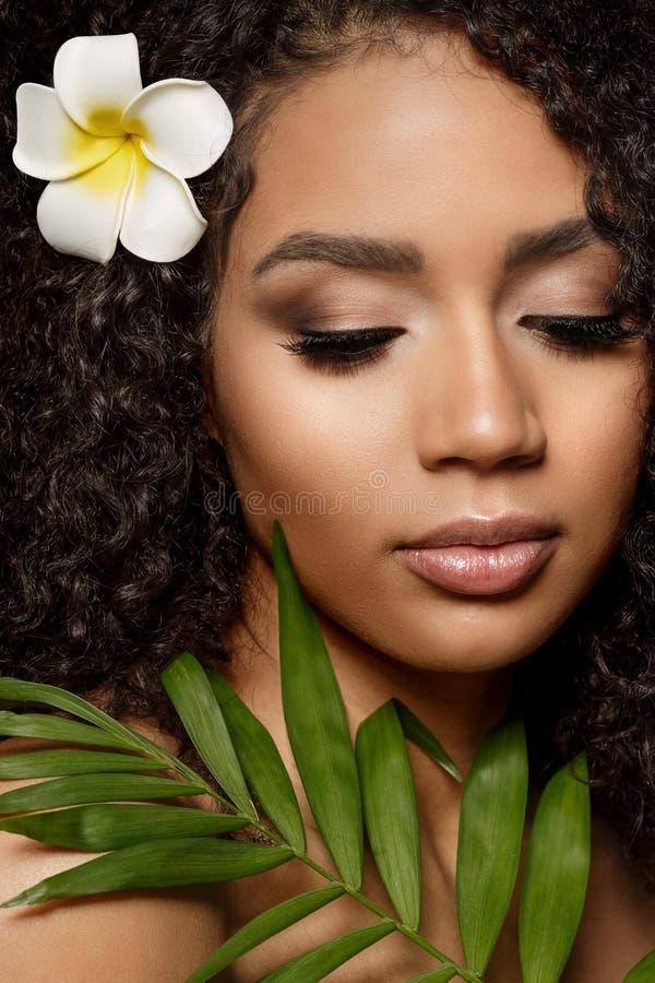 Beauty Black Skin Modefrau afrikanische ethnische weibliche Gesichtspassage Jungfrau-Modell mit Aro- und Tropenblättern in Händen stockfoto