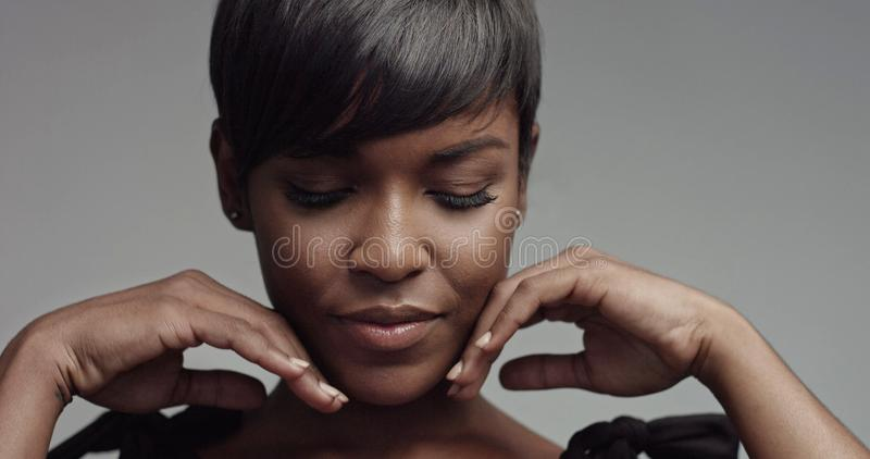 Beauty black woman portrait closeup royalty free stock image